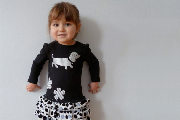 Little girl in one-of-a-kind dress