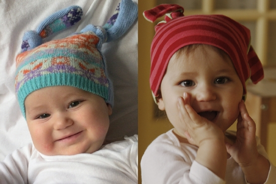 Winter hat, left, upcycled fabric; jersey hat, upcycled cotton fabric.