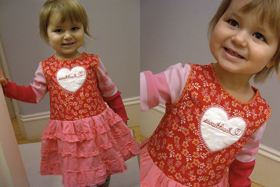 One-of-a-kind sweetheart dress, upcycled fabric.