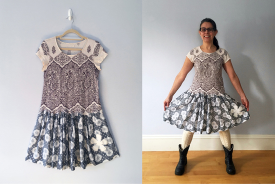 One-of-a-kind dress, upcycled fabric.